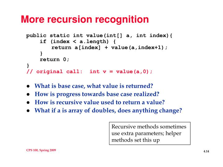 More recursion recognition
