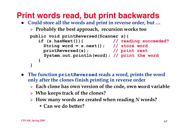 Print words read, but print backwards