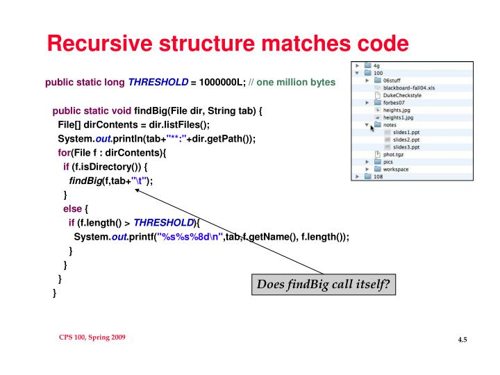 Recursive structure matches code