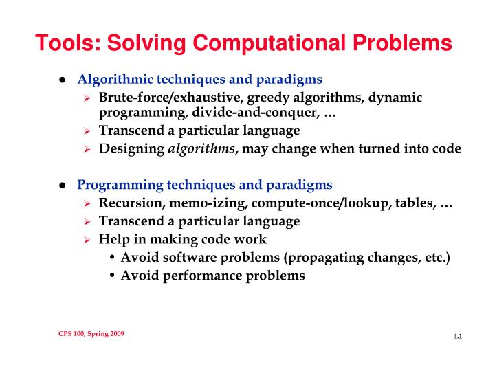 Tools solving computational problems