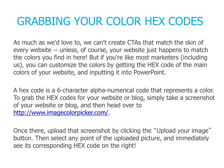 GRABBING YOUR COLOR HEX CODES