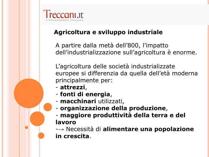 Agricoltura e sviluppo industriale