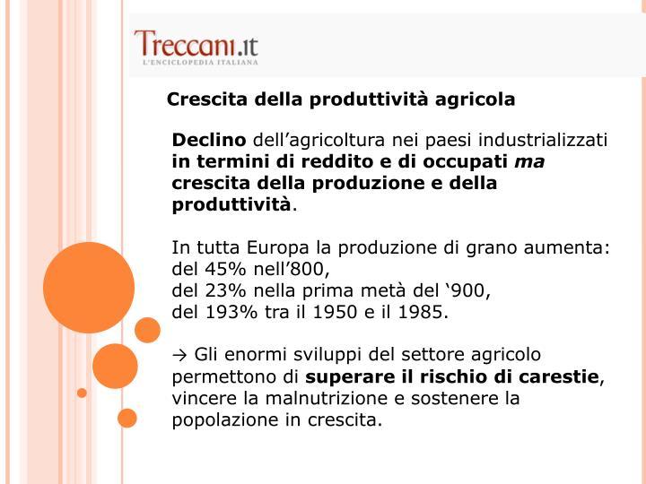 Crescita della produttività agricola
