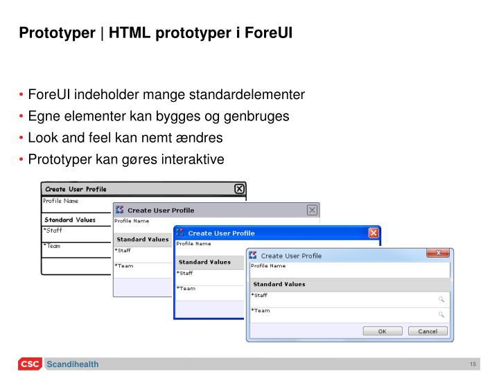 Prototyper | HTML prototyper i ForeUI
