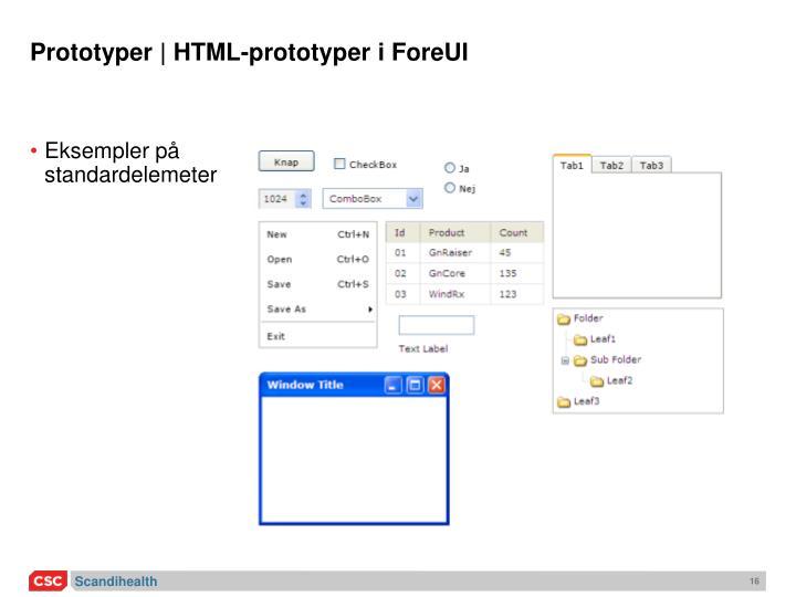 Prototyper | HTML-prototyper i ForeUI