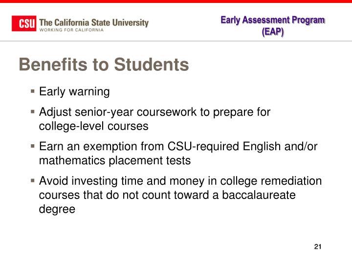 early assessment program essay