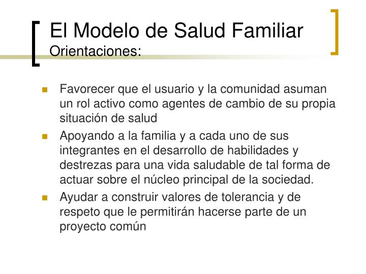 El Modelo de Salud Familiar