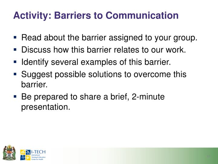 Activity: Barriers to Communication