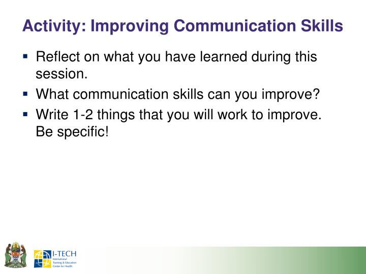 Activity: Improving Communication Skills