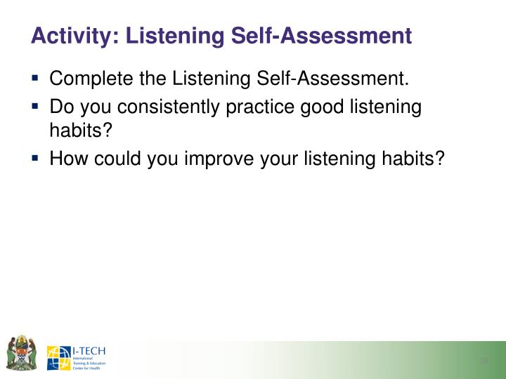 Activity: Listening Self-Assessment