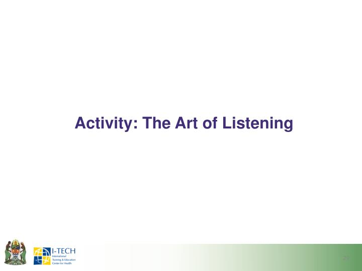 Activity: The Art of Listening