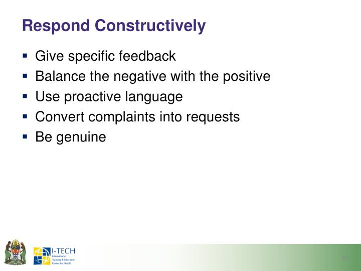 Respond Constructively