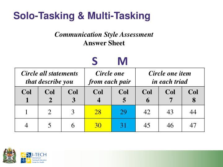 Solo-Tasking & Multi-Tasking