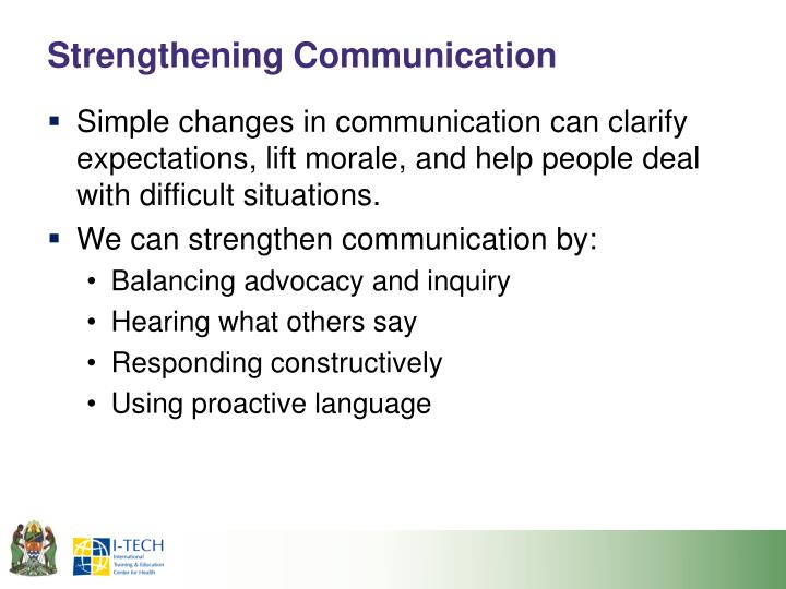 Strengthening Communication