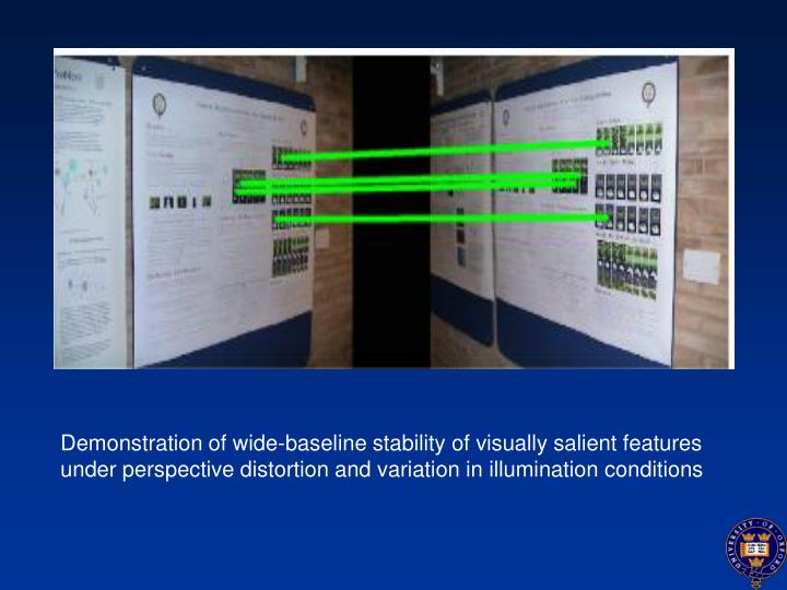 Demonstration of wide-baseline stability of visually salient features under perspective distortion and variation in illumination conditions