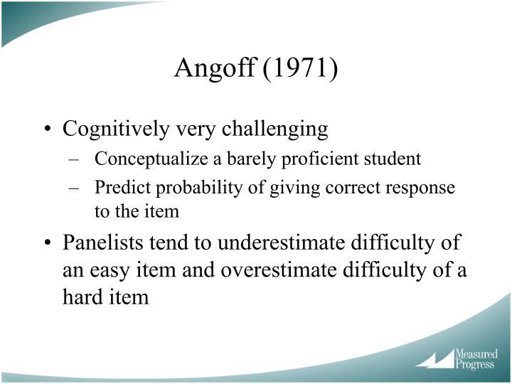 Angoff (1971)