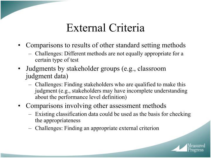 External Criteria