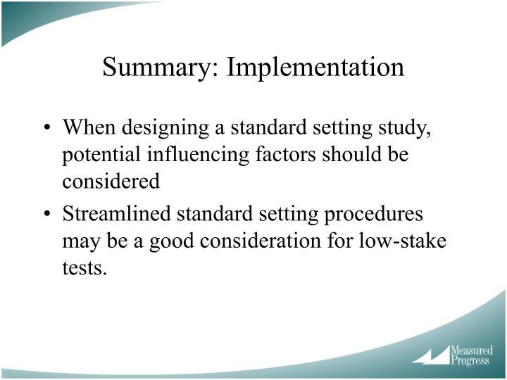 Summary: Implementation