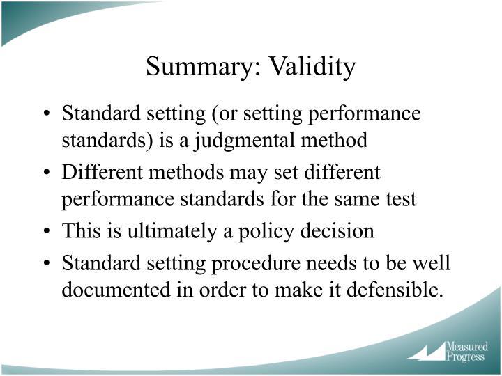 Summary: Validity