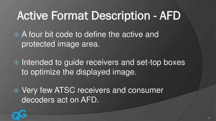 Active Format Description - AFD