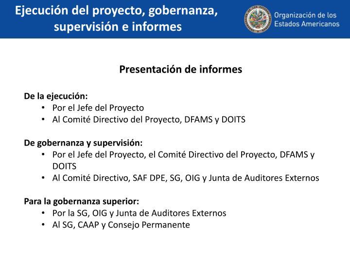 Ejecución del proyecto, gobernanza,