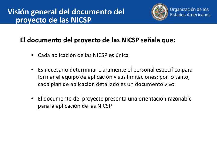 Visión general del documento del proyecto de las NICSP