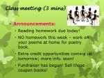 class meeting 3 mins