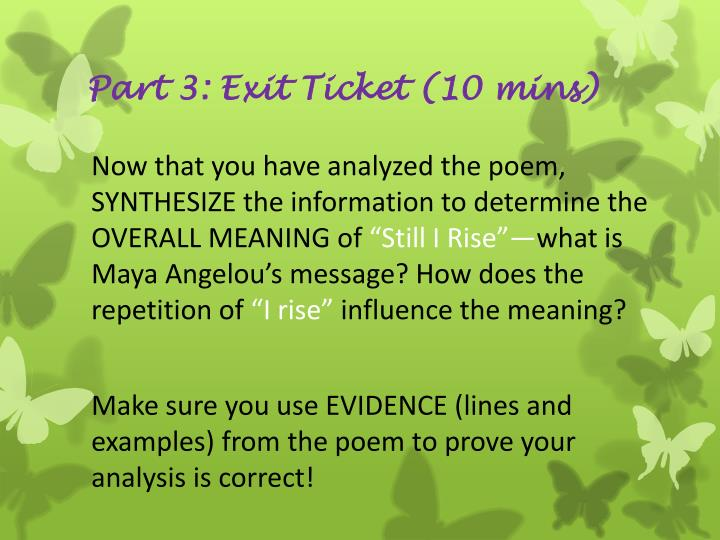 Part 3: Exit Ticket (10 mins)