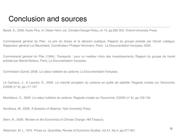 Conclusion and sources