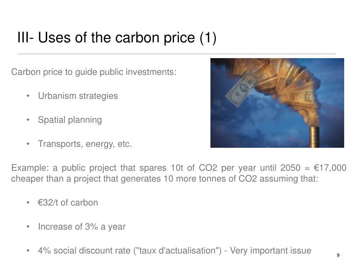 III- Uses of the carbon price (1)