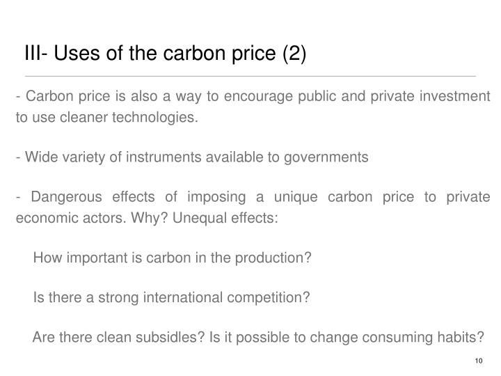 III- Uses of the carbon price (2)