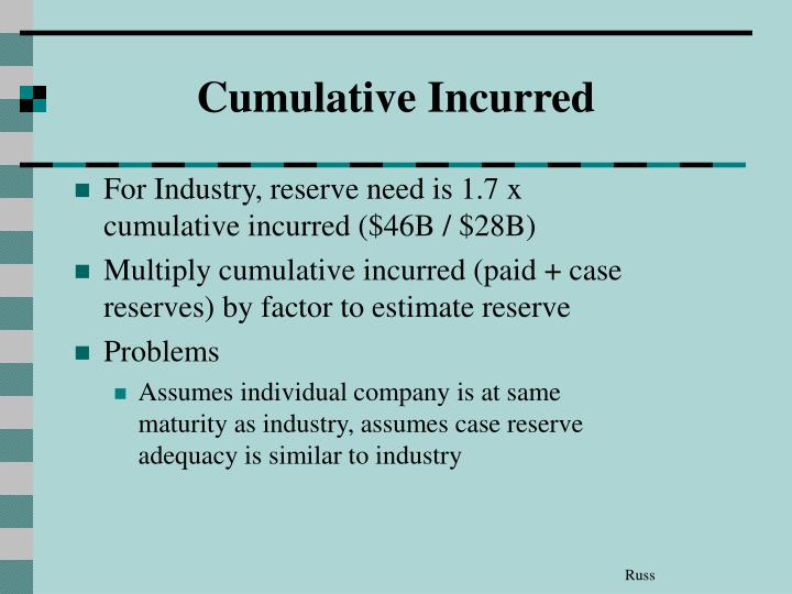 Cumulative Incurred