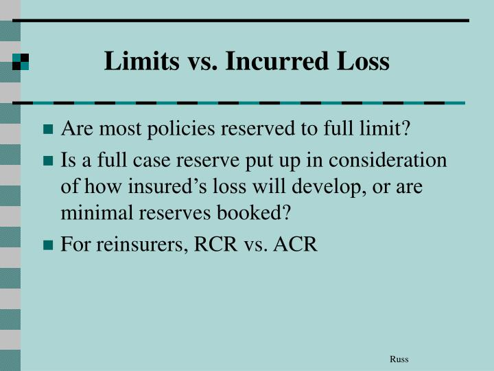 Limits vs. Incurred Loss