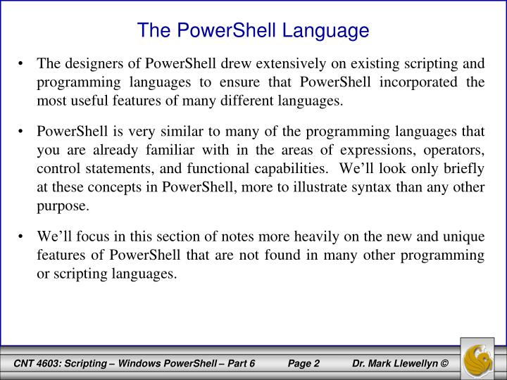 The powershell language
