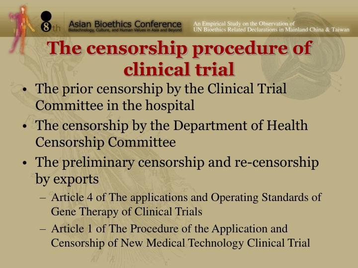The censorship procedure of clinical trial