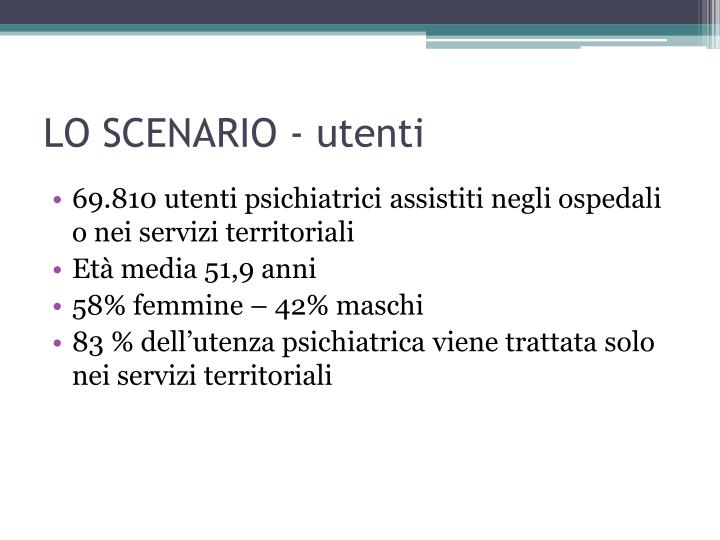 LO SCENARIO - utenti
