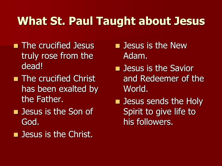 What St. Paul Taught about Jesus