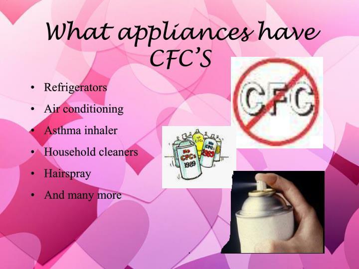 What appliances have CFC'S