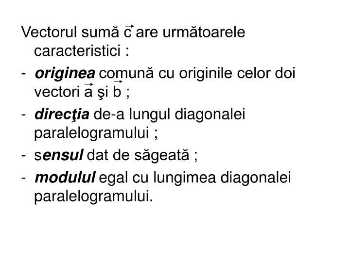 Vectorul sumă c are următoarele caracteristici :