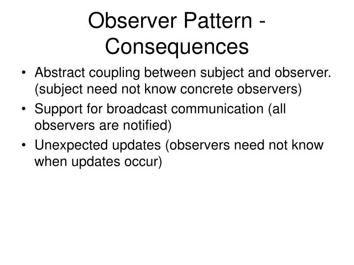 Observer Pattern - Consequences