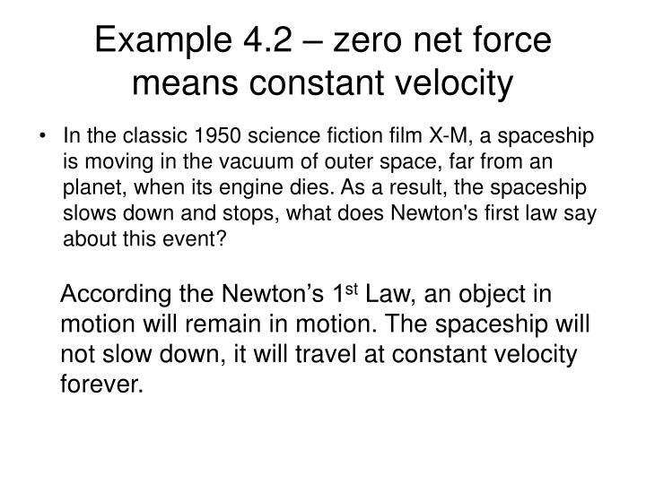 Example 4.2 – zero net force means constant velocity