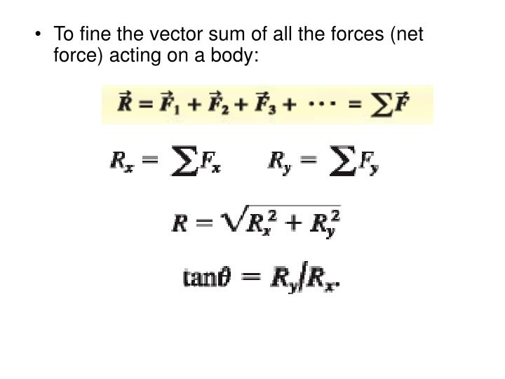 To fine the vector sum of all the forces (net force) acting on a body: