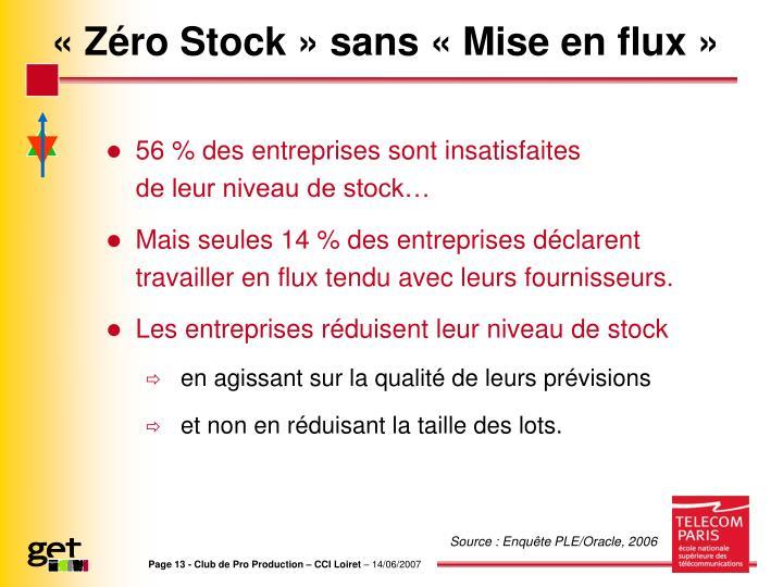 «Zéro Stock» sans «Mise en flux»