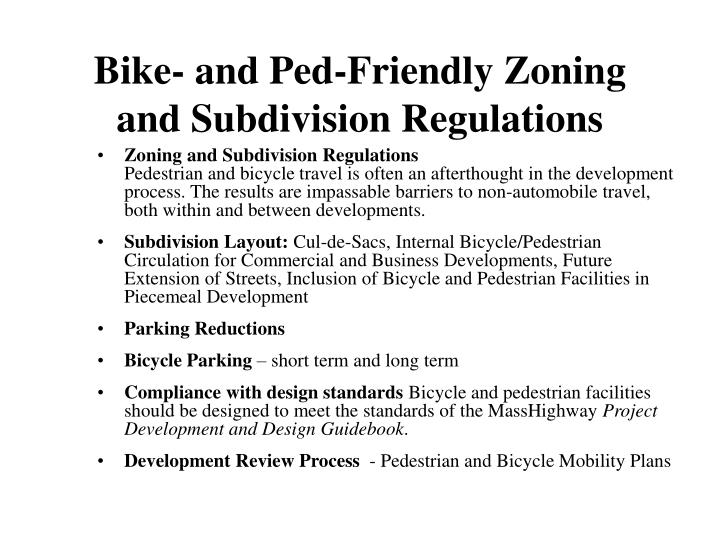 Bike and ped friendly zoning and subdivision regulations