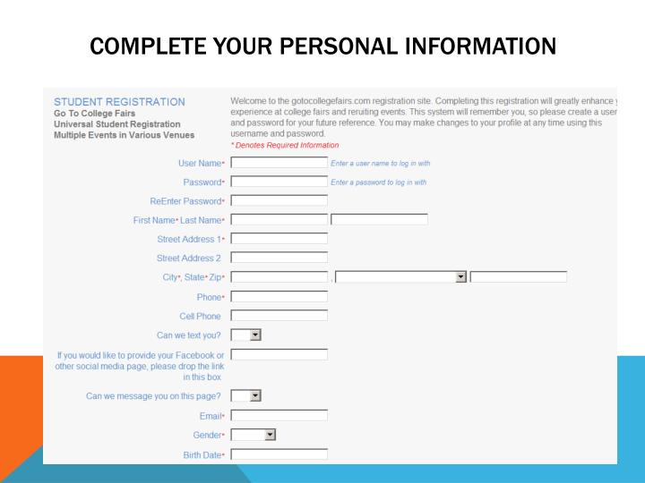 Complete your personal information