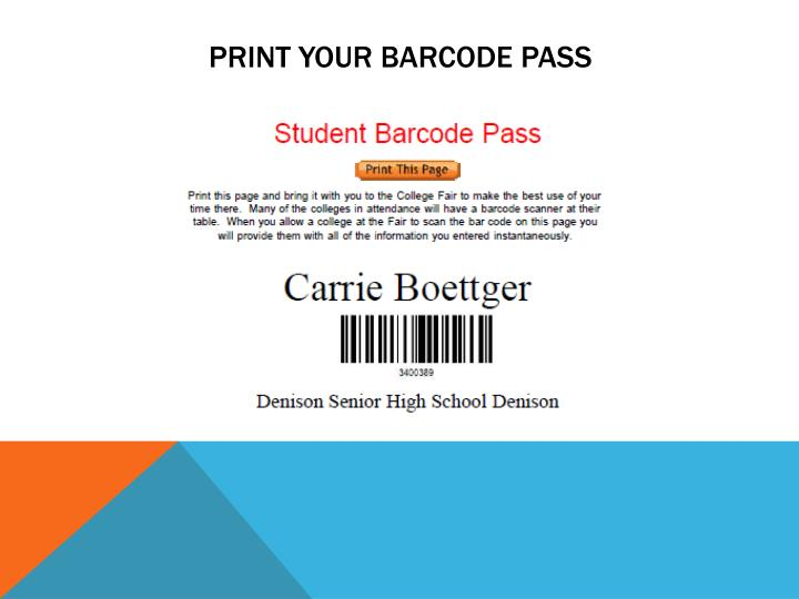 PRINT YOUR BARCODE PASS