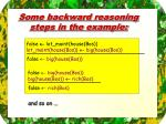 some backward reasoning steps in the example
