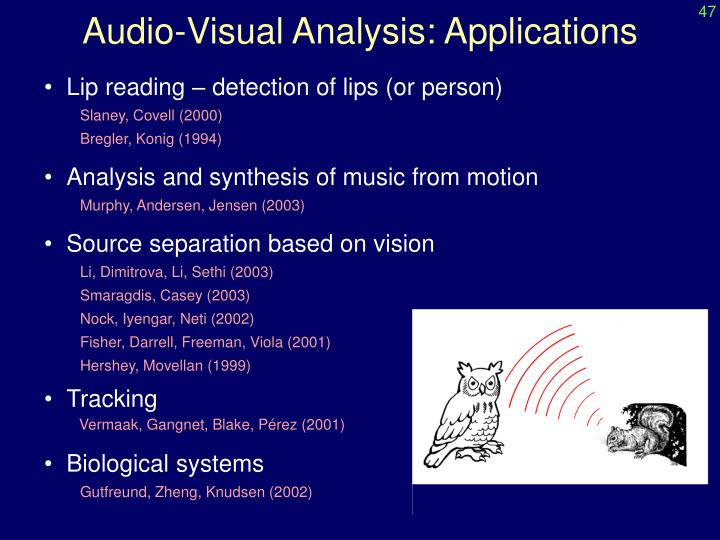 Audio visual analysis applications