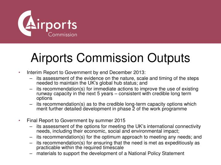 Airports Commission Outputs