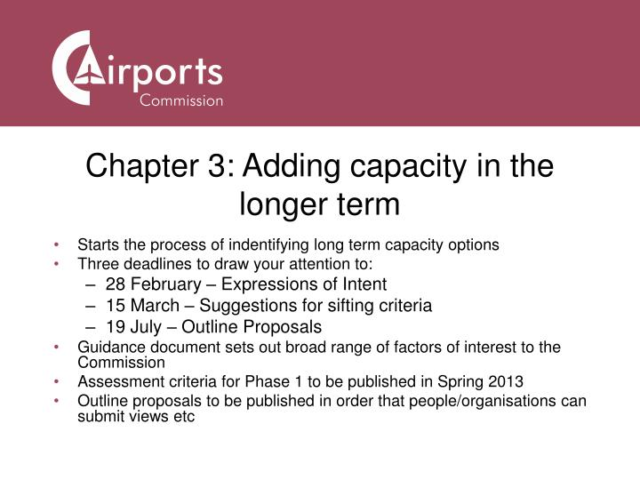 Chapter 3: Adding capacity in the longer term